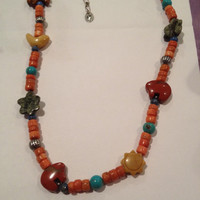 """Carolyn Pollack Turquoise Fetish Necklace Adjustable 20"""" Sterling Silver 925 Lapis Spiny Oyster Tigers Eye Red Carnelian Vintage Jewelry"""