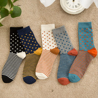 free shipping 5 colors high quality cotton men autumn winter socks with  Retro Style little dot pattern