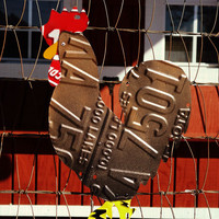Upcycled License Plate Chicken Rooster - Black Copper Maran/Easter Egger