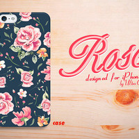 iPhone 4 Case Rose Floral Pattern,black iPhone 5S Case flower,iphone 5C Cover rose,  iPhone 5 hard case.Case for iPhone 4 / 4S / 5 / 5S / 5C