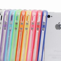 Pack of 10 Color Clear TPU Silicone Bumper Frame Case W/ Metal Buttons for iPhone 5 5G 5th