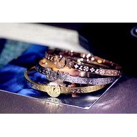 LV tide brand female letter embossed bracelet