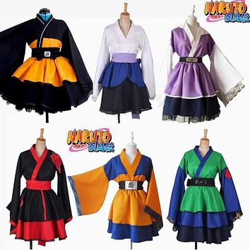 Customized Anime Naruto Cosplay Costume Uzumaki Naruto Lolita Clothes Uchiha Sasuke Kimono Dress Akatsuki Lolita Dress Women 019