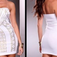 White Studded Sweetheart Style Bodycon Dress