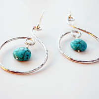 Turquoise Handmade Hammered Silver Aluminum Drops Wire Wrapped Dangle Womens Earrings Delicate Jewelry Blue Green Gemstones Bocade Jewelry