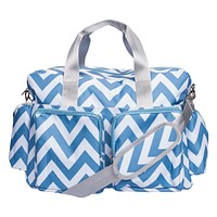 Baby Diaper Bags   - Blue and White Chevron Deluxe Duffle Diaper Bag
