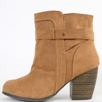 Qupid Maze-34 Perforated Buckle Ankle Boots | MakeMeChic.com