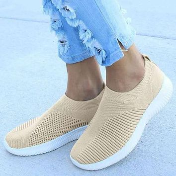 New Flying Woven Women's Shoes Soft Sole Casual Light Sports Shoes
