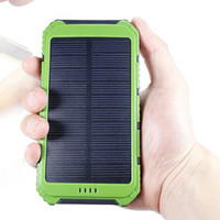 Portable Solar Charger Power Bank 10000mAh Shockproof Dual USB Solar Battery Backup External Battery With Solar Panel For Phones