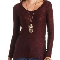 Slub Knit High-Low Tunic Sweater by Charlotte Russe - Oxblood