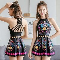 One Piece Bathing Suit Good Quality High Neck Women Swimsuit Skirt Bathing Suits  XXL Vintage Swim Dress Black Flower Print Push Up Swimwear KO_9_1