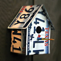 """Upcycled Texas """"Lone Star State"""" License Plate Birdhouse"""
