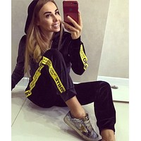 OFF-White Trending Women Leisure Print Hoodie Sweater Pants Set Two Piece Sportswear