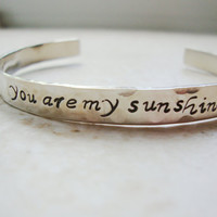 Silver you are my sunshine hammered hand stamped by Lolasjewels