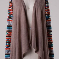 Contrast Sleeve Cardigan - Taupe