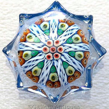 Vintage early Strathearn Milliefiori Latticino Star 9 Spoke moulded pressed Art Glass Paperweight P12 1-1-2 cartwheel  c1965 - 70 (ref 3192)