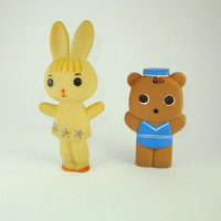 Rabbit and Bear, Bunny and Teddy Bear, Colorful Beige Brown Rubber Toy, a Soviet Vintage, 1970's, Soviet Toy, Russian Toy