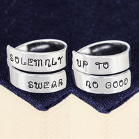 Solemnly Swear Up To No Good - Harry Potter - Adjustable Aluminum Wrap Ring Set