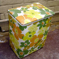 Vintage Floral Sixties Groovy Childs Clothing Hamper or Storage Tub / Brady Bunch Era, Style & Look Pick Up ONLY