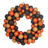 Orange and Black Balls Halloween Wreath (Orange/Black)