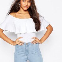ASOS Off Shoulder Body With Ruffle Detail And Thong