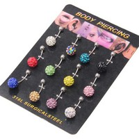 Wholesale 12pcs Surgical Steel Crystal Belly Button Ring Shamballa Inspired By Yuan mutang
