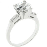 Classic Triple White Engagement Ring, size : 06