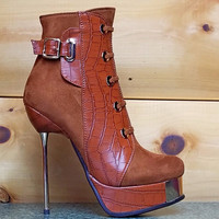 """Luichiny Ves Ted Whisky Brown - 5.5"""" High Heels Ankle Boots"""