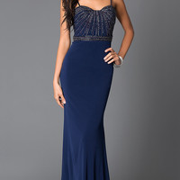 Long Floor Length Prom Dress With Straps and Sequins