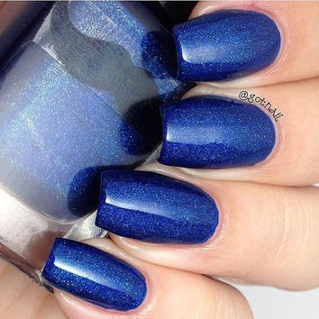Pursue ALL the Knowledge!- Deep Blue Holographic Nail Polish