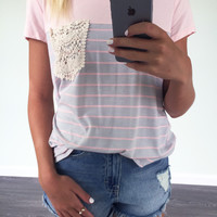 Westhampton Pink & Grey Lace Pocket Tee