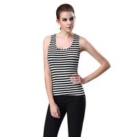 Black And White Striped Tank Top 2017 New Arrival Cotton Sleeveless Tank Tops For Women Camis cropped feminino #20