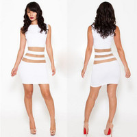 Fashion Hollow Bandage See-Through Mesh Sexy Slim Nightclub Clubbing Party Erotic One Piece Dress _ 12141