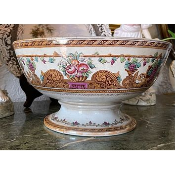 Antique 1890 Furnival English Polychrome Lustre Transferware Footed Punch Bowl Compote Soup Tureen