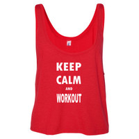 Keep Calm And Workout - Ladies' Cropped Tank Top