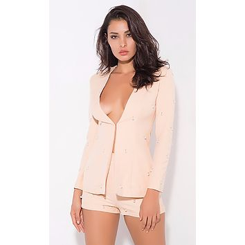 Pearly Perfection Peach Long Sleeve Faux Pearl Blazer Romper Short Two Piece Set - 4 Colors Available