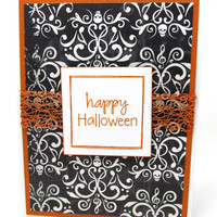 Happy Halloween - Halloween Card - Halloween Greeting - Skulls - Black and White Glitter Paper - Blank Card