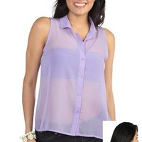high low chiffon button front tank top with lace back yoke - debshops.com