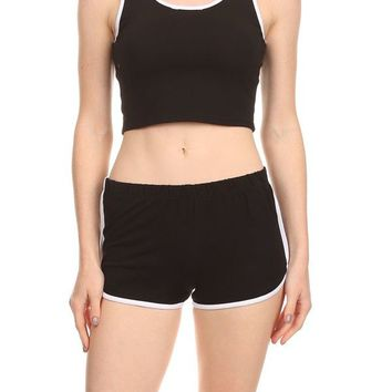 Sleeveless Athletic Fitness Crop Tops+Terry Sweat Shorts Suit