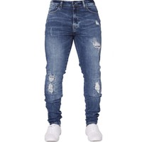 LAAMEI Hip Hop Stretch Ripped Jeans Skinny Jeans For Men Blue Streetwear Cotton Hombre Slim Fashion Pencil Pants Male Dropship