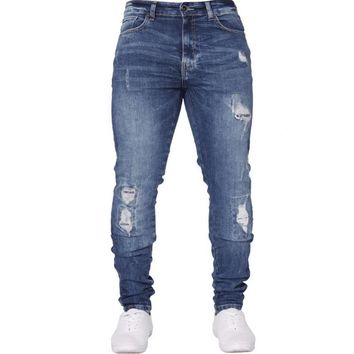 CALOFE Cotton Hip Hop Stretch Ripped Jeans Hombre Slim Fashion Pencil Pants Male Skinny Jeans For Men Blue Streetwear Dropship