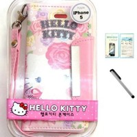 [NC] Iphone 5 Hello Kitty Wallet Case Cover - Rose with NanoCell4All Screen Protector Pack And Premium Capacitive Stylus Pen with NanoCell4All Retail Package