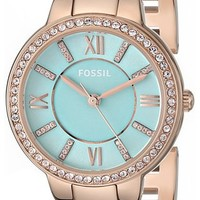 Fossil Women's ES3652 Virginia Three-Hand Stainless Steel Watch - Rose Gold-Tone with Mint Green Dial