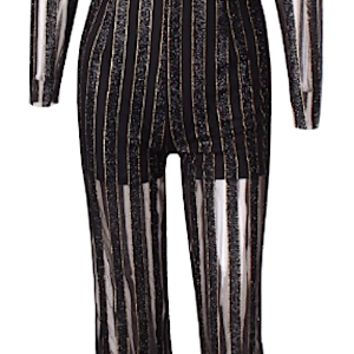 Tashaa Semi Sheer Sequined Striped Pantsuit - Black & Gold