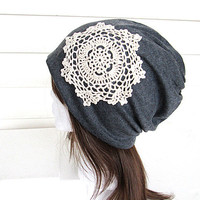 Women Oversized Beanie Hat-Dark Grey-Baggy Hat- Head Wrap- Slouch Cap-Hippie Hat-Dolly-Unisex