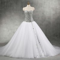 Sexy Sweetheart Wedding Dress New Arrival Bridal Dresses White Tulle With Crystal Wedding Dresses