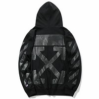 OFF-WHITE joint name Champion 2018 autumn tide brand new men and women long-sleeved hooded sweater Black