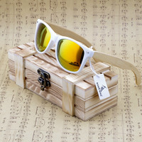 Rectangular Genuine Real Bamboo Wood Polarized Sunglasses With Reflective Mirror Tint gafas de sol
