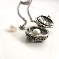 Grandma's Attic Treasure Chest. Vintage Style Antiqued Silver Charm with freshwater pearl Necklace