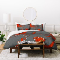 Holli Zollinger Octopus Red Duvet Cover